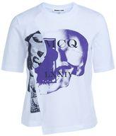 McQ by Alexander McQueen T-shirt Assimmetrica Bianca Con Stampa