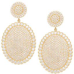 Jamie Wolf 18k Scalloped Diamond Pavé Oval Drop Earrings
