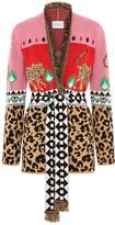 Leopardess Short Cardigan in Pink & Red
