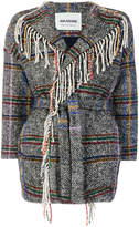 Ava Adore knitted plaid jacket