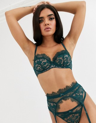 Ann Summers Love Me True lace suspender belt in emerald-Green