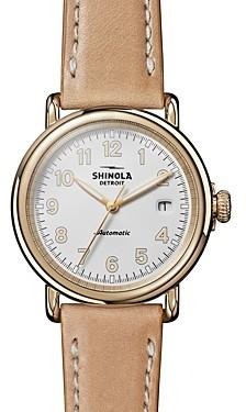 Shinola The Runwell Tan Leather Strap Automatic Watch, 39.5mm