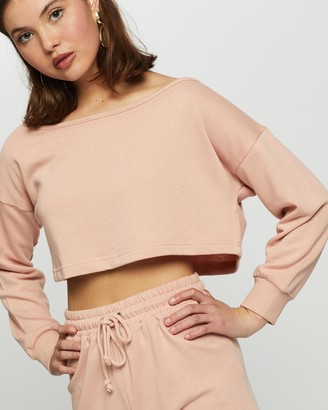 Missguided Women's Pink Sweats - Co-Ord Cold-Shoulder Top & Runner Shorts Set - Size 8 at The Iconic