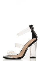 Quiz Black Multi Strap Clear Heel Sandals