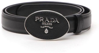 Prada Metal Buckled Logo Belt