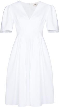 Alexander McQueen V-neck cotton midi dress