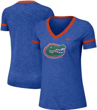 Nike Women's Royal Florida Gators Slub Logo Fan Performance V-Neck T-Shirt