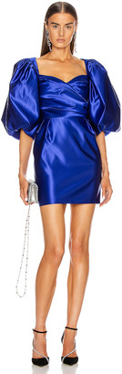 Rasario for FWRD Puff Sleeve Draped Corset Mini Dress in Cobalt Blue | FWRD