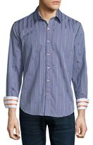Robert Graham Clyde Striped & Check Sport Shirt, Purple Pattern