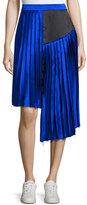 Public School Kaleb Asymmetric Pleated Silk Satin Skirt, Blue