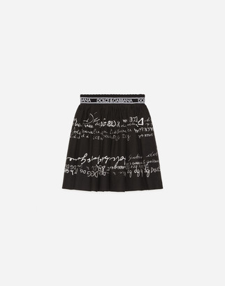 Dolce & Gabbana Flannel Midi Circle Skirt With Lettering Prints