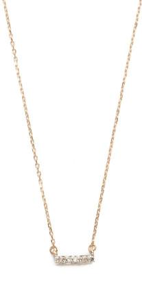 Adina Super Tiny 14k Gold Pave Bar Necklace