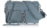 Rebecca Minkoff Mini Mac Dusty Blue Nubuck Crossbody Bag w/Guitar Strap