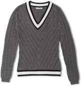 Lacoste Women's V-neck Cable Knit Wool Sweater