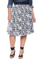 ELOQUII Plus Size Studio Embroidered Midi Skirt