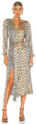 Rebecca Taylor Long Sleeve Leopard Tie Dress