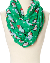 David & Young Green & White Penguin Infinity Scarf