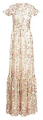 ML Monique Lhuillier Women's Embroidered Floral Overlay Gown
