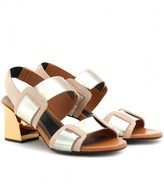 LEATHER SANDALS WITH METALLIC BLOCK HEEL