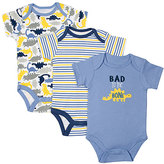 Cutie Pie Baby Blue & Yellow Dinosaur Bodysuit Set - Infant