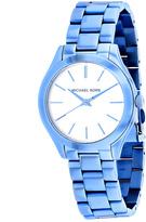 Michael Kors Blue & Silvertone Slim Runway Bracelet Watch