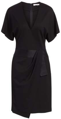 Halston Faux Wrap Multi Needle Waist Dress