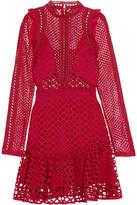 Self-Portrait Ruffled Georgette-trimmed Guipure Lace Mini Dress - Red