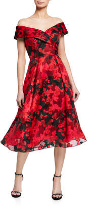 Rickie Freeman For Teri Jon Floral Burnout Organza Off-The-Shoulder Midi Dress