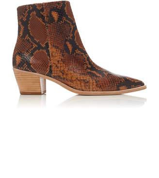 Ulla Johnson Cruz Snake-Effect Leather Booties Size: 36