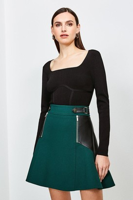 Karen Millen Structured Crepe Pu Panelled A Line Skirt