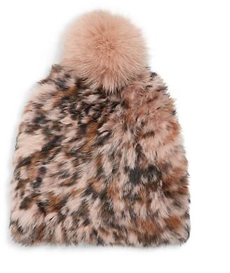 MARCUS ADLER Leopard-Print Rabbit Fur Fox Fur Pom-Pom Beanie