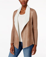 Alfred Dunner Petite Twilight Point Mixed-Media Jacket