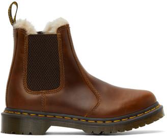 Dr. Martens Brown Faux-Fur 2976 Lenore Chelsea Boots