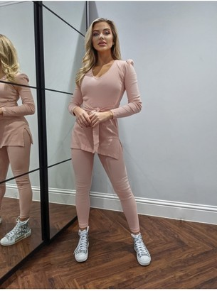 Little Mistress Dusty Pink Ribbed Puff Shoulder Tunic Loungewear Co-ord