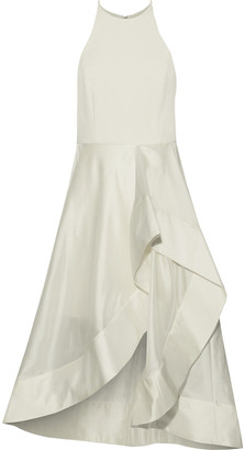 Halston Satin-trimmed Crepe And Taffeta Dress
