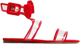 Valentino Garavani Bow-embellished Velvet And Pvc Sandals