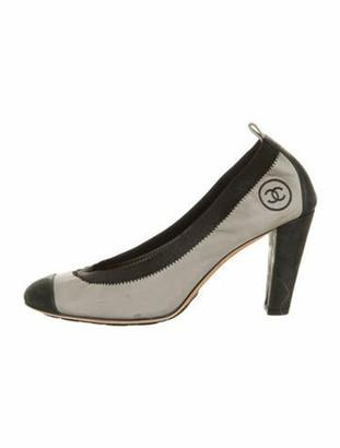 Chanel CC Ballet Pumps Suede Pumps Grey