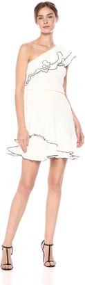Halston Women's One Shoulder Ruffle Detail Dress