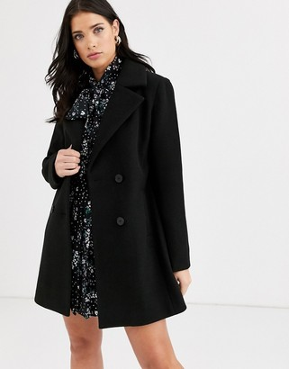 Fashion Union smart double breasted coat-Black
