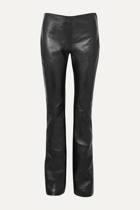 Joseph Kent Leather Straight-leg Pants - Black