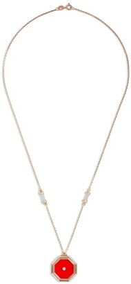 L'Atelier Nawbar Rose Gold, Diamond And Agate Amulets Of Light Pendant Necklace