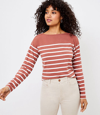 LOFT Striped Boatneck Long Sleeve Tee