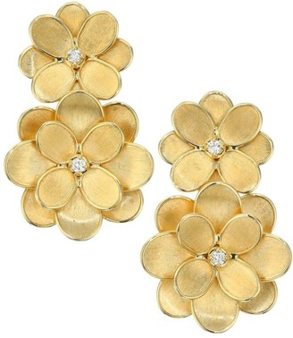Marco Bicego Petali 18K Yellow Gold & Diamond Flower Earrings