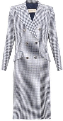 Alexandre Vauthier Double-breasted Houndstooth Cotton-blend Coat - Navy White