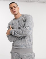 Emporio Armani Loungewear all over text print crew neck sweat in grey