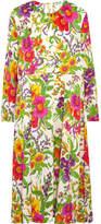 Balenciaga Metallic Floral-print Silk-blend Crepon Midi Dress - Green