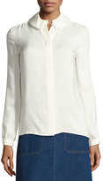 A.P.C. Aimee Crepe Peter Pan Blouse, White