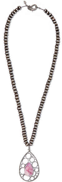 Loree Rodkin 18-karat Rhodium White Gold, Wood, Sapphire And Diamond Necklace