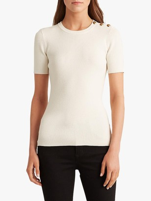Ralph Lauren Ralph Madara Short Sleeve Button Top, Mascarpone Cream