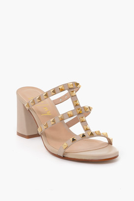 French Sole Black Foster Stud Sandals